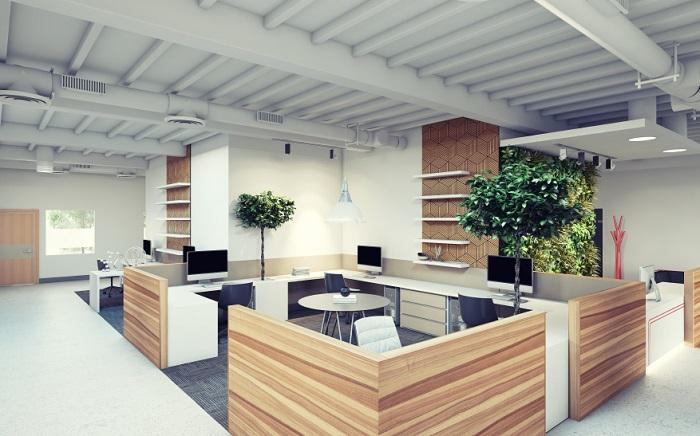 thiết kế xanh văn phòng nhỏ gọn