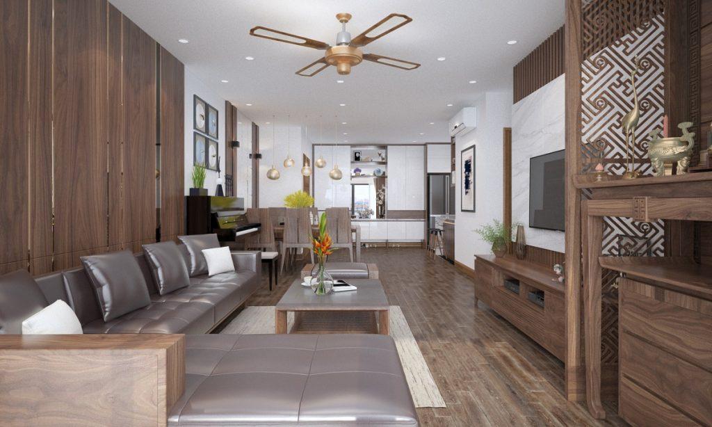 phòng khách ốp tường gỗ tự nhiên