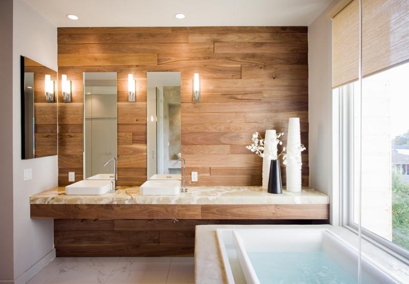 Thiết kế nội thất nhà tắm gỗ tự nhiên