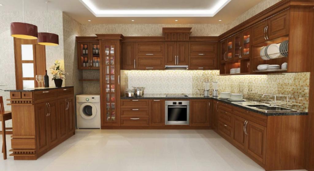 Nội thất phòng bếp gỗ tự nhiên
