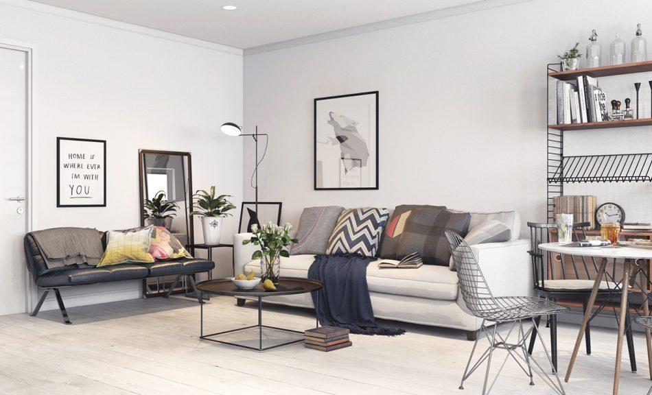 Thiết kế nội thất phòng khách Scandinavian