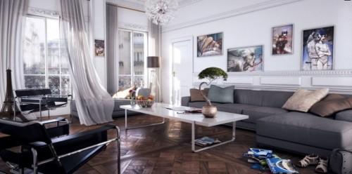 thiết kế phòng khách đương đại