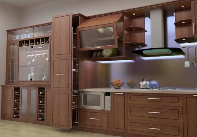 Tủ bếp gỗ tự nhiên hiện đại - tủ gỗ óc chó