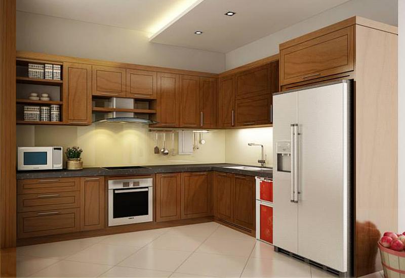 Mẫu tủ bếp gỗ tự nhiên hiện đai