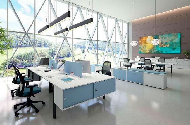 thiết kế văn phòng màu sắc sáng tạo