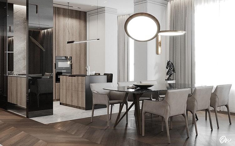 thiết kế nội thất biệt thự đơn lập - phòng bếp