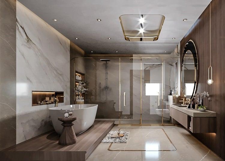 thiết kế nội thất biệt thự đơn lập - phòng tắm
