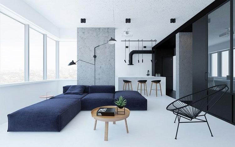căn hộ nội thất tối giản