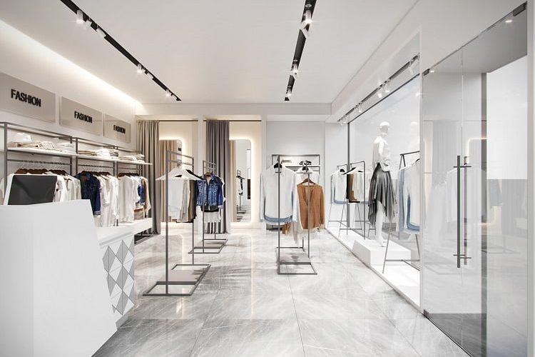 ánh sáng trong cửa hàng quần áo