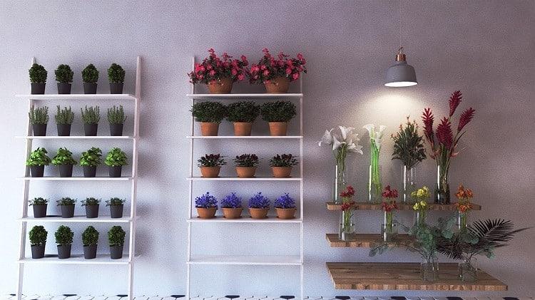 bố trí nội thất bên trong cửa hàng hoa