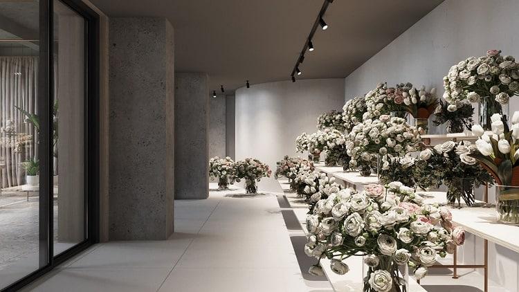 thiết kế nội thất shop hoa tươi nhỏ
