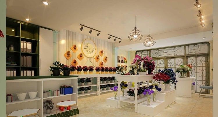 thiết kế ánh sáng trong cửa hàng hoa