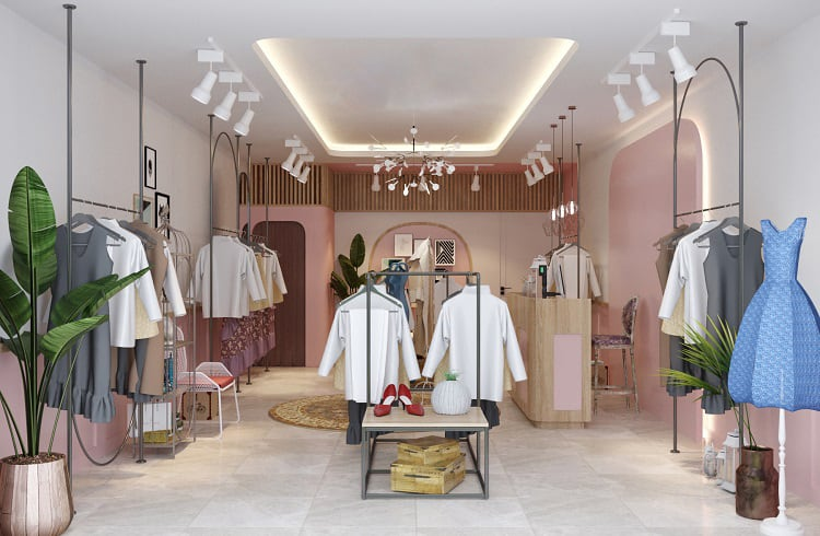 trang trí nội thất cửa hàng thời trang