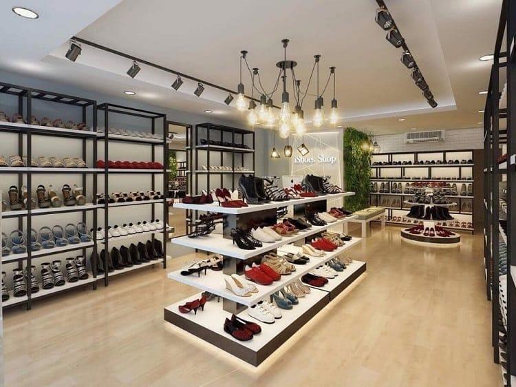bố trí nội thất cửa hàng giày dép