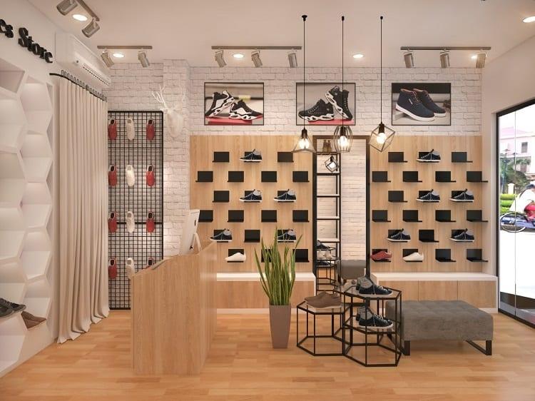 thiết kế màu sắc và ánh sáng trong cửa hàng giày dép